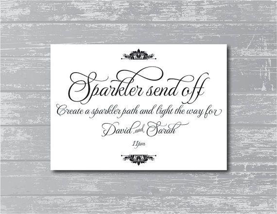Custom Sparkler Send Off Sign 5x7 DIY Wedding by CreativePapier, $7.00