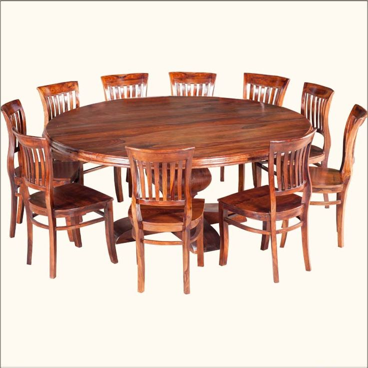 Sierra Nevada Large Round Rustic Solid Wood Dining Table U0026 Chair Set