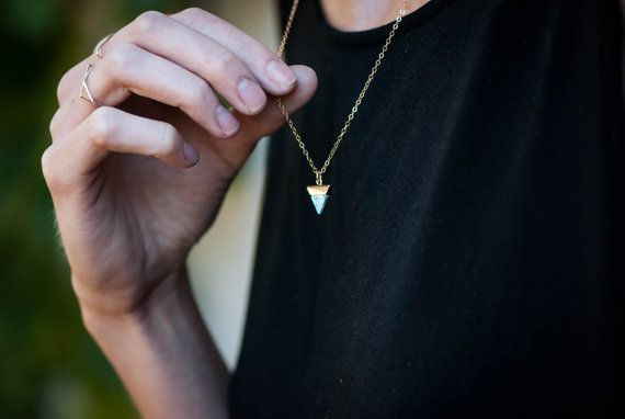 Marble Triangle Small Colorful Necklace, Tiny White Necklace, Gold Minimalist Necklace, Stone Geometric Necklace, Small Marble Necklace