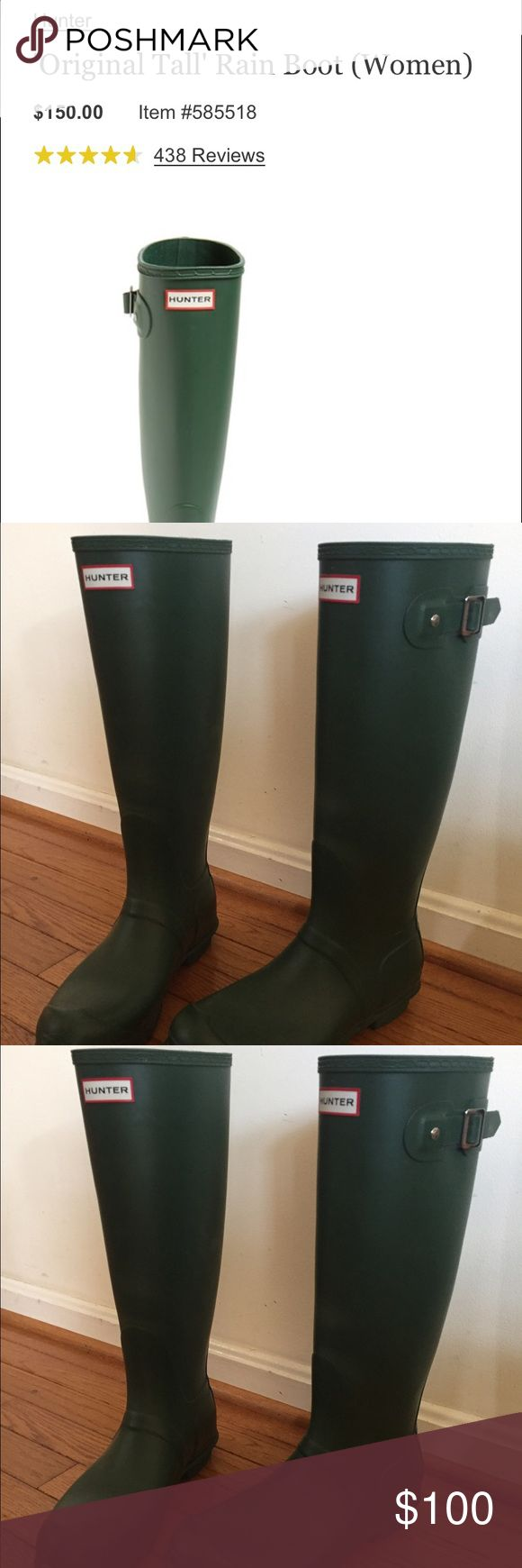 Green tall Hunter rain boots in perfect condition Hardly used, cute Hunter boots! I'll throw in a pair of hunter socks to go with them too :) Hunter Boots Shoes Winter & Rain Boots