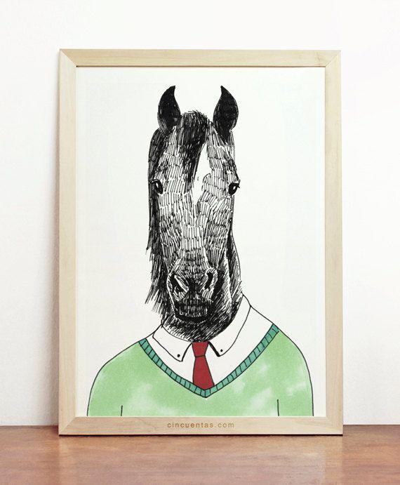 Paard Print groen rood zwart Decor kinderen jongen mannen cadeau kunst aan de muur opknoping dier in kleren Poster paardenliefhebbers illustratie paard aanwezig