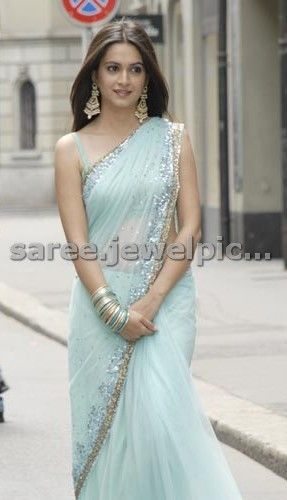 @Kriti_official Kharbanda #Gorgeous in Powder Blue #Saree