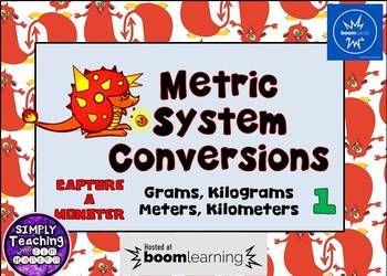 Metric System Conversions Digital Boom Cards using grams, kg, meters, and km