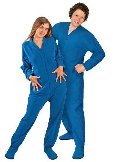Blue Polar Fleece Adult Footy Pajamas - No Drop Seat