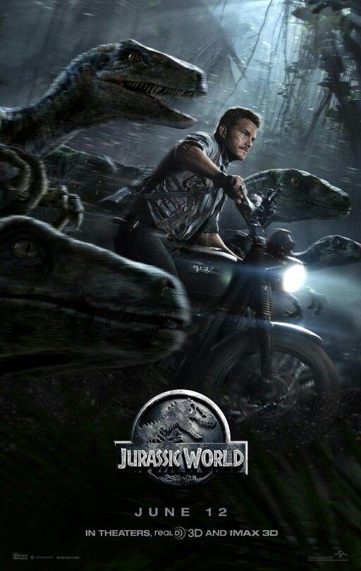 Grady (Chris Pratt) rides with the Raptor Squad  Motorcycle with dinosaurs running  beside him - Jurrasic World, 2015 June