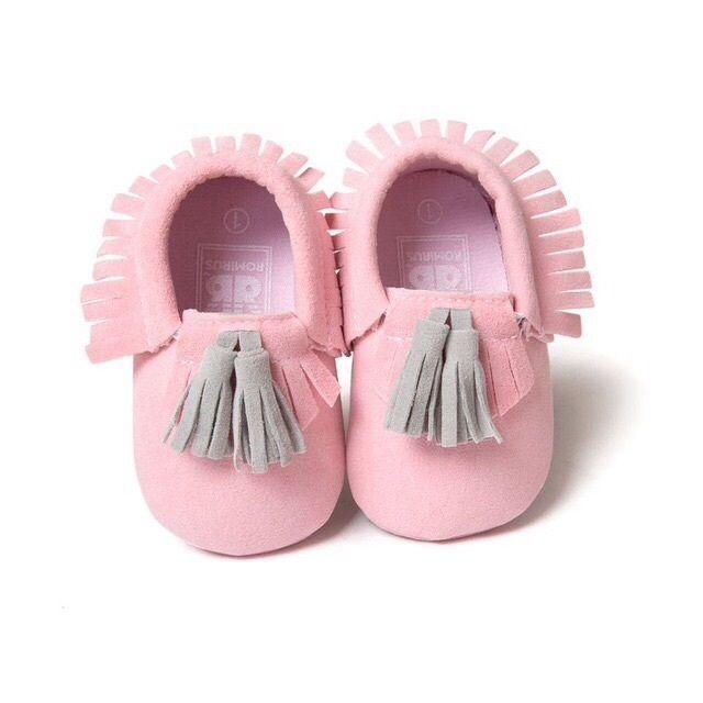 Baby Moccasins pink grey 0-6 months pram shoes suede effect     eBay