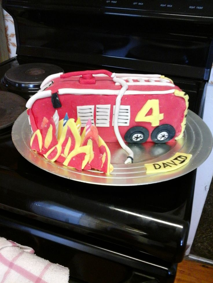 Fire Engine Cake with Flames for David