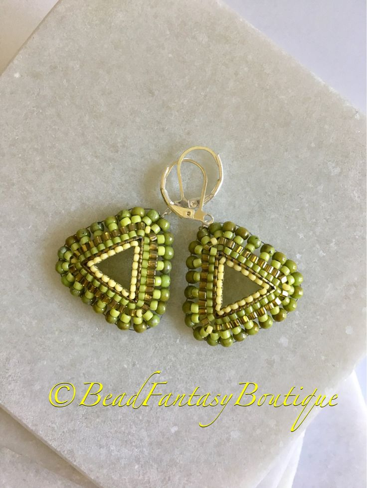 Beaded Triangle Green Drop Dangle Lightweight Brick stitch Earrings- Free US Shipping by BeadFantasyBoutique on Etsy