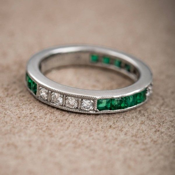 Lovely Vintage Platinum Emerald and Diamond Band http h