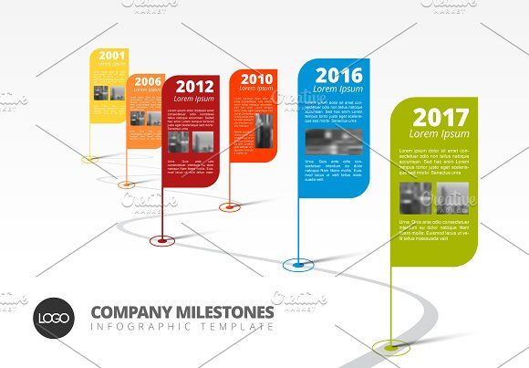 Colorful timeline template by Orson on @creativemarket