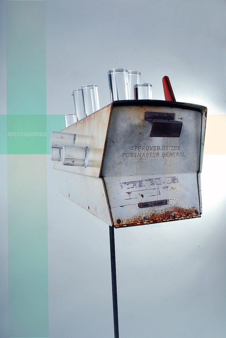 """""""Light mail""""  Metal vintage mail box, acrylic, steel, concrete and resin  LED 6V light"""