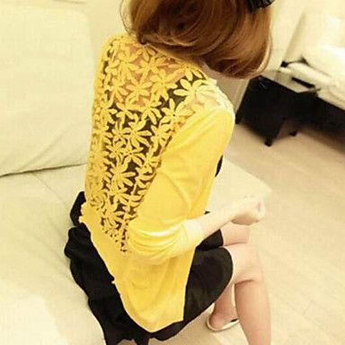 Women's Popular Lace Stitching Hollow Out Knitting Seven Leaf Flowers of Women's Shirts - USD $ 14.39