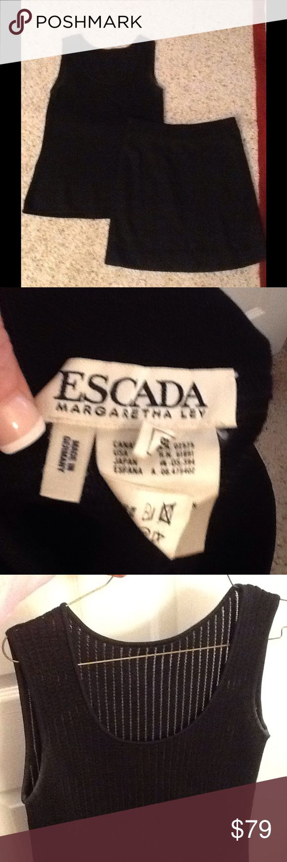 ESCADA MARGARETHA LEY BLACK RIBBED DRESS SKIRT SET ESCADA Margaretha Ley sz 36 NOVACHECK plaid skirt suit.  Two piece double breasted jacket and skirt.  Nice condition, with exception to one teeny pinhole on bottom of jacket.  Amazing pattern, really unique print, Gorgeous suit!  Will ship right away.  Check out my other designer items Escada Dresses Mini