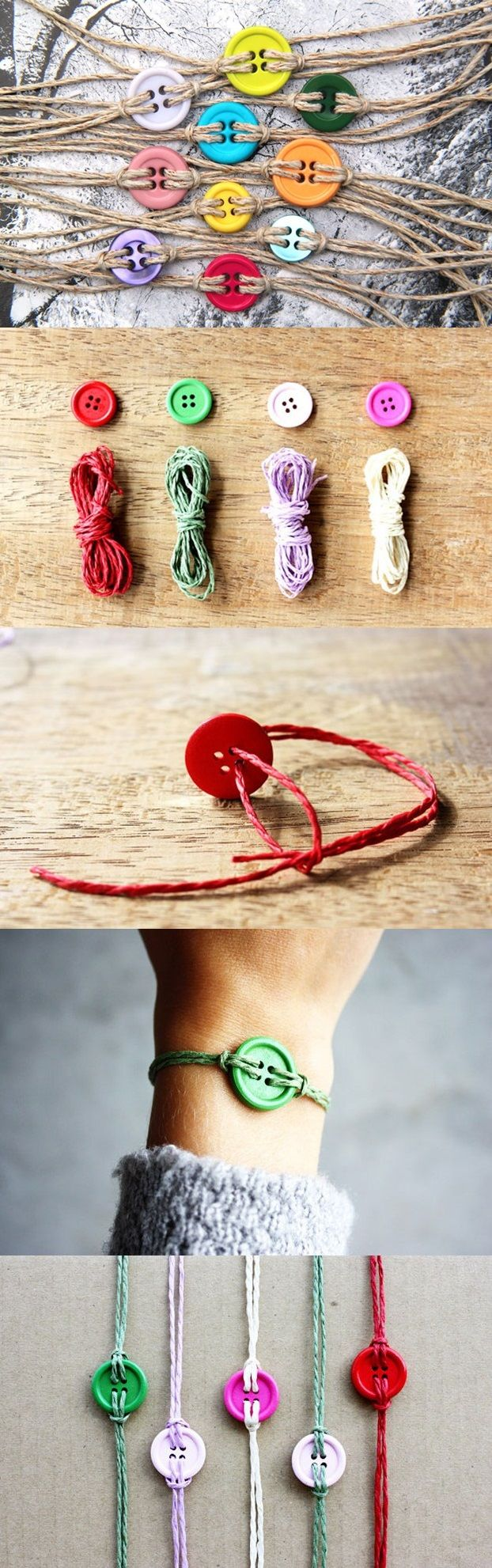 What a great project for a rainy day. Let the grandkids raid your button box and make some colourful bracelets.