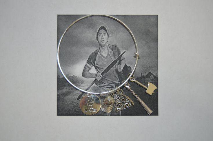 TWD Fan Glen Rhee Charm  Bracelet Glen Bangle Charm Bracelet  The Walking Dead Charm Bracelet Jewelry by 12ThirtyFive on Etsy