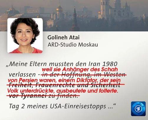"""Dokumentor auf Twitter: """"#ARD #tagesschau Golineh Atai versteht nicht, warum sie, die willfährige #CIA-Propagandistin, wegen #Trump nicht mehr in die #USA darf """""""