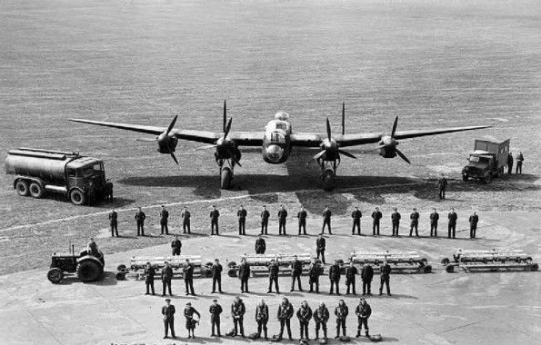 The personnel required to keep one Avro Lancaster flying on operations, taken at Scampton, Lincolnshire.