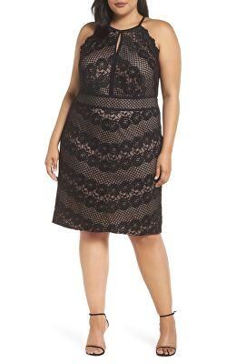 8167810d36ce1 MORGAN   CO. Designer Mitered Lace Halter Dress