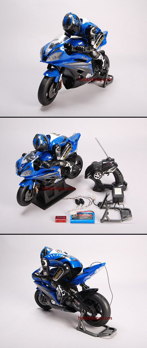 The RC motor bike is not a high performance machine, though it is alot of fun! Full functions: Forward, reverse, left/right Turn & stop, lights Front and rear suspension, Authentic motorcycle action Driver Shifts weight into the turns Electric brake system Extra turbo boost for faster speeds Interchangeable steering for left or right handers