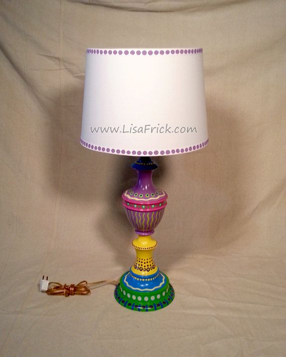 fun funky lighting. hand painted table lamp and shade 014 fun funky by lisafrick lighting l