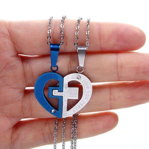 NEW Cross in Heart Jigsaw Puzzle Necklace 2 Piece BBF Split PendantNL-2479 #Welldone #Pendant