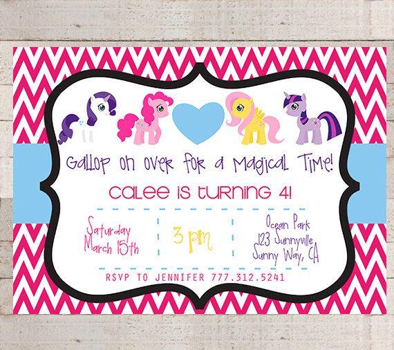 My Little Pony Chevron Birthday Party Invitations- PRINTABLE- My Little Pony- Modern- Girls Birthday- Birthday Party- Pony Birthday Party