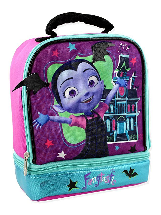 a77c96a1bd1 This colorful lunch box features your favorite Disney Junior Vampirina.  This stylish lunch bag contains glittered graphics for added flair.