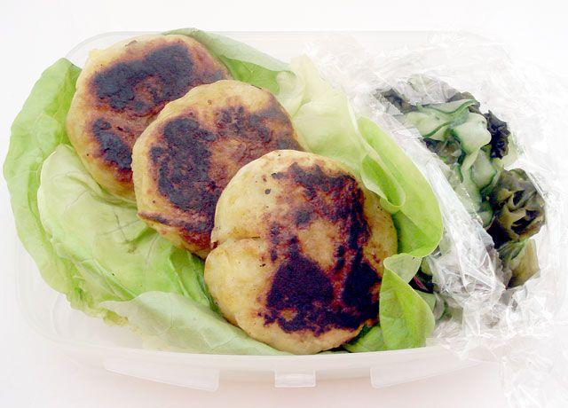 Bento - Sauteed Beef-filled Grilled Mashed Potatoes, Cucumber/Seaweed Salad, Bib Lettuce Garnish