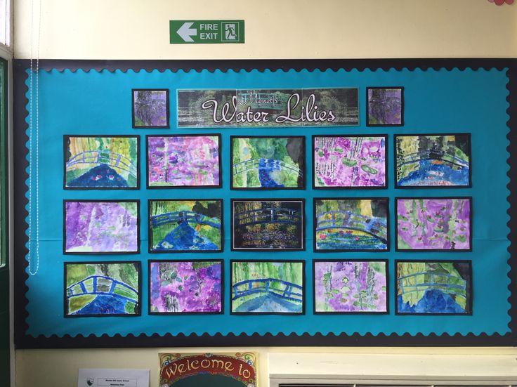 Monet water lilies classroom art display ks1 ks2 Impressionism