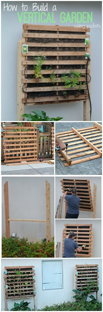 How to build a vertical garden using pallets huertos - Jardin vertical pallet ...