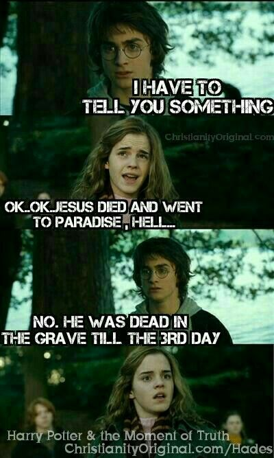 """#GoodFriday #Hermione #HarryPotter and the #MomentofTruth """"The #SonofMan must suffer many things, be #killed and after #threedays rise again."""" Mark 8:31. According to the Scriptures, Christ died for our sins, was buried, and was #raised on #thethirdday. 1Cor 15:3-4."""