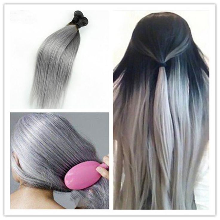 New arrival cheap 3pcs/lot brazilian straight 1b silver grey 2 tone ombre human weft weave bundles