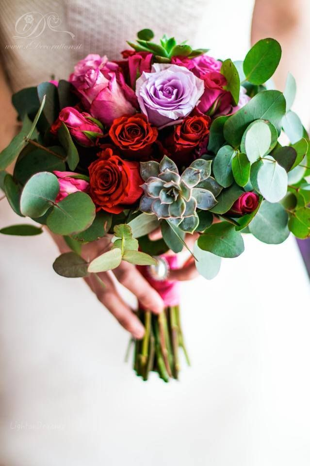 Beautiful & Petite Bridal Bouquet Featuring Red, Hot Pink & Lavender Roses, Green Succulents & Green Foliage