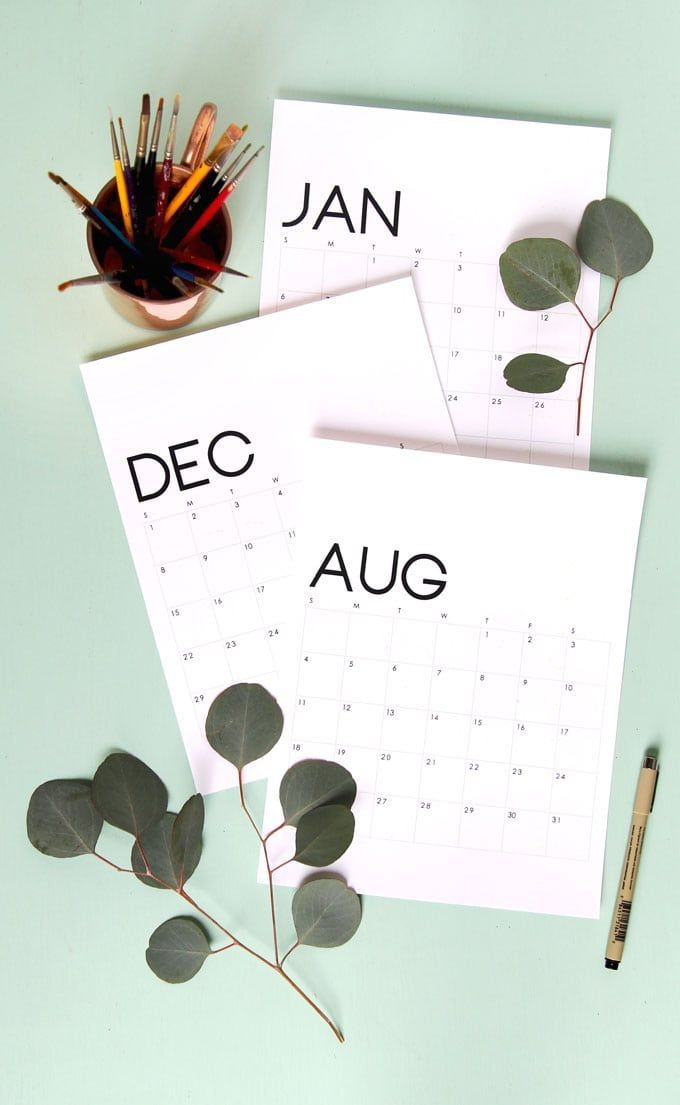 Modern Minimal Printable 2019 Calendar And Monthly Planner Holiday