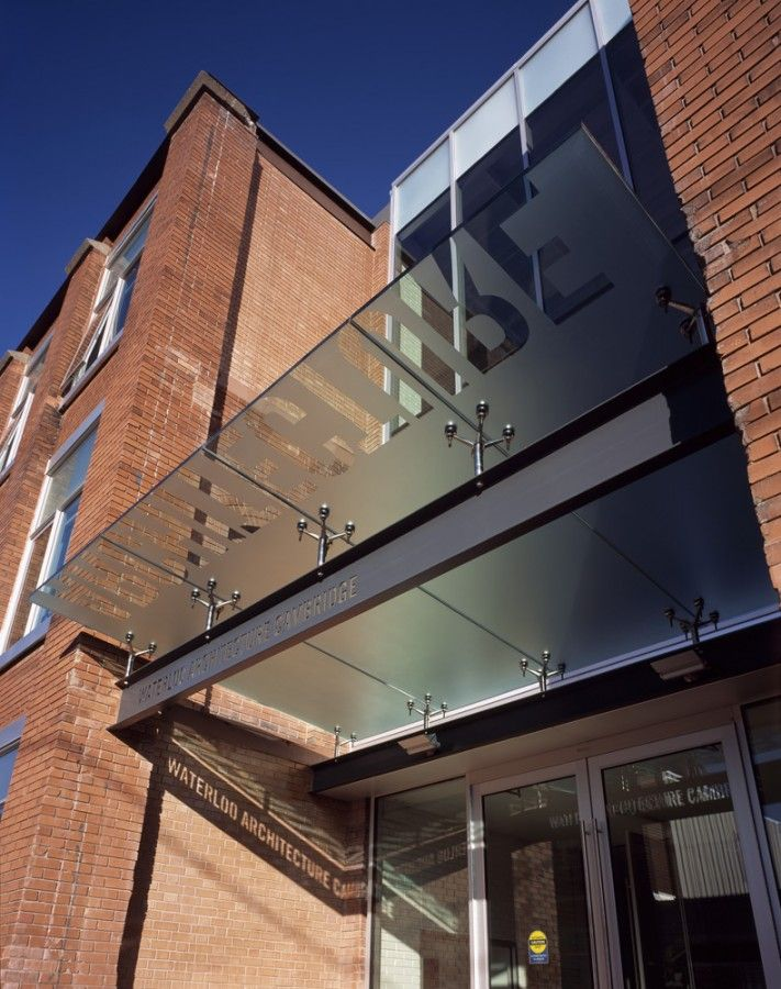 glass entry canopy, Waterloo+School+Of+Architecture