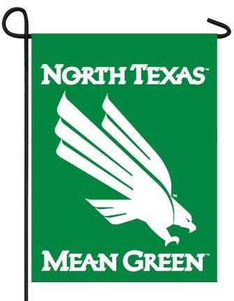 UNT Mean Green decorative garden flag with eagle logo. The lettering reads correctly from both sides. Sewing Concepts decorative collegiate garden flags are printed on heavyweight, soft polyester fabr