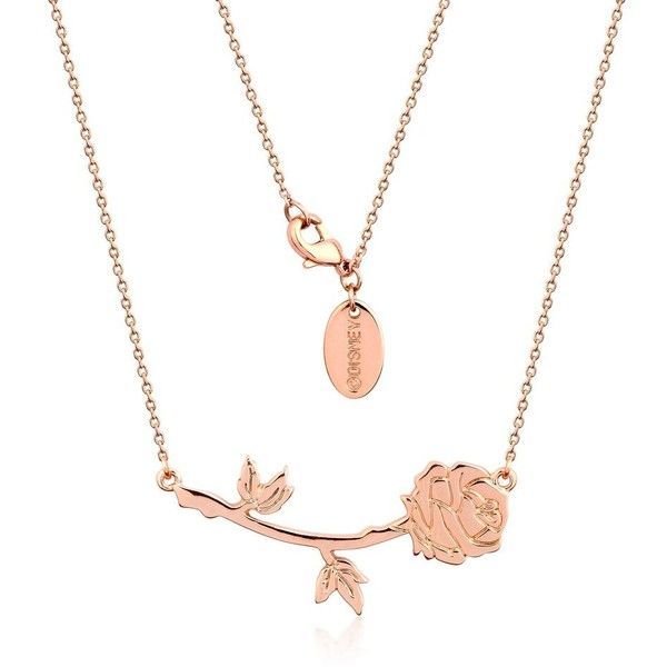 Disney Beauty and the Beast Rose Necklace ($29) ❤ liked on Polyvore featuring jewelry, necklaces, disney jewelry, disney, disney necklace, rosette necklace and disney jewellery