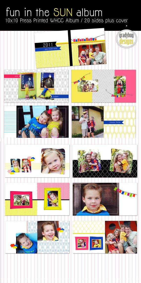 Fun in the SUN  10x10 Album Template  WHCC by gradybugdesigns, $35.00