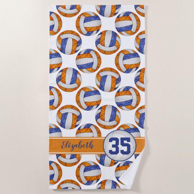 Blue Orange Volleyball Team Colors Sporty Girls Beach Towel