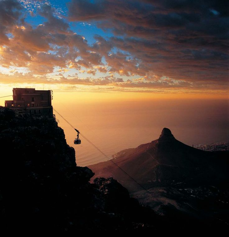 Sunset over Cape Town from Table Mountain, South Africa