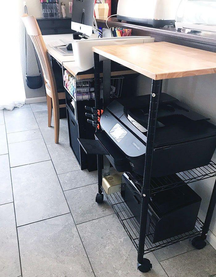 Small Space Craft Room Storage Ideas Printer Storage Desks For