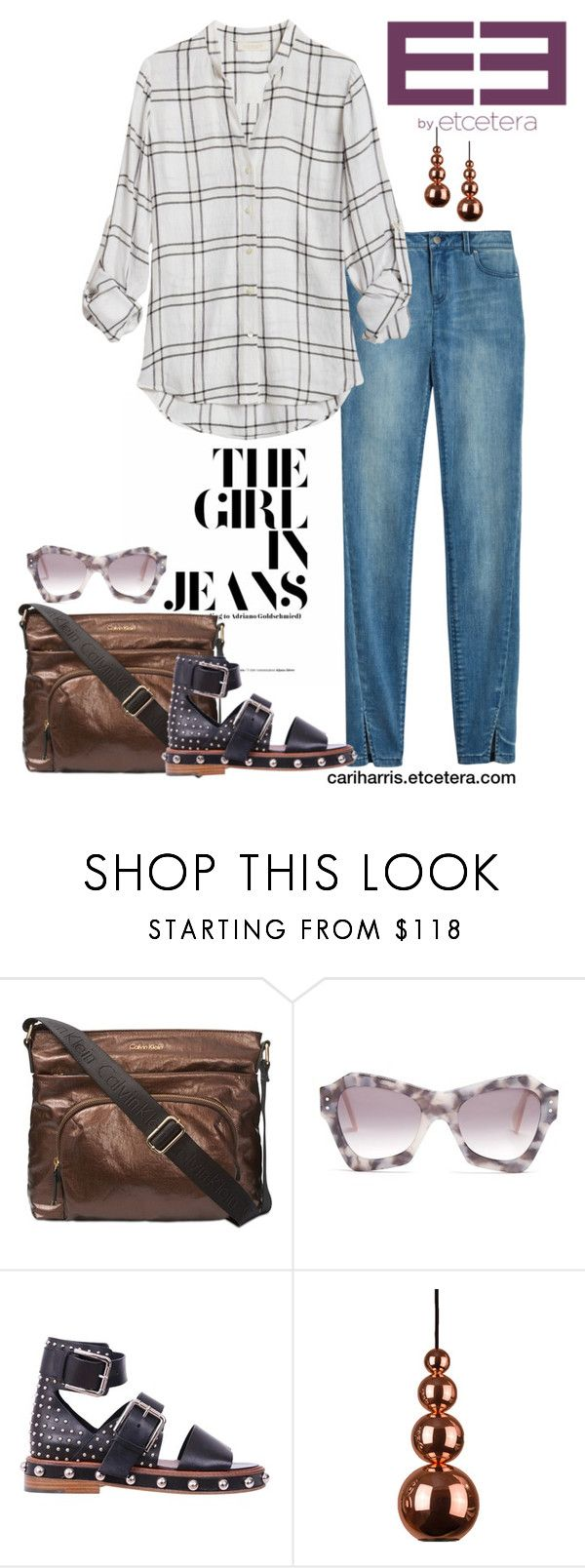 """""""Etcetera Spring 2018: Windowpane Blouse with Brilliance Jean"""" by timirac on Polyvore featuring Calvin Klein, Roksanda and RED Valentino"""