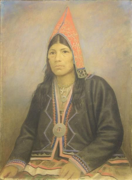"""Micmac Woman"" by an unknown artist (1865) at the New Brunswick Museum, Saint John (found via Contested Terrain) - ""By 1600, women began to replace hides with cloth, quillwork with ribbon appliqué, and hand painted designs with silk ribbon. The woman in this painting is wearing a post-contact Mi'kmaq dress. Note the rosary around her neck. As French allies and trading partners from 1605-1763, the majority of Mi'kmaq converted to Catholicism."""