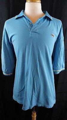 Lacoste sky Blue white Mens golf Polo shirt Sz 10 XXXL cotton free shipping EUC