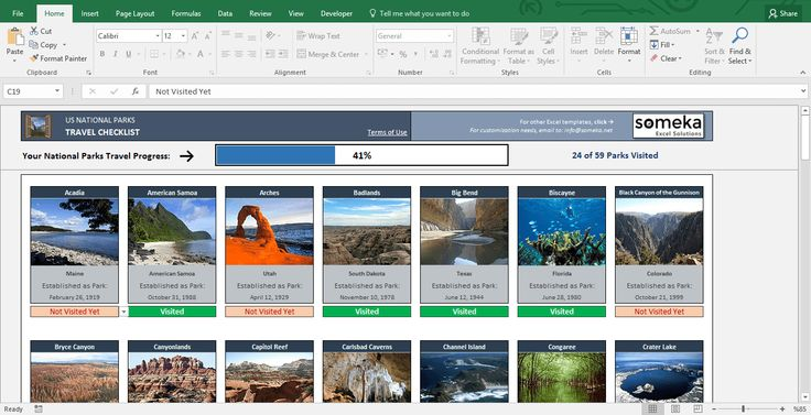 USA National Parks - Excel Template: A unique Excel Template to be used as a bucket list for USA National Parks travelers. See your progress, share with your friends and challenge your outdoor buddies. (FREE download from someka.net) #excel #template #national #parks #spreadsheet #personal #travel #progress #printable #free