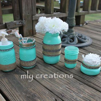 hand painted turquoise ball mason jar bathroom set toothbrush holder house warming gift college bathroom decorparis bathroom decorwestern - Western Bathroom Accessories Rustic