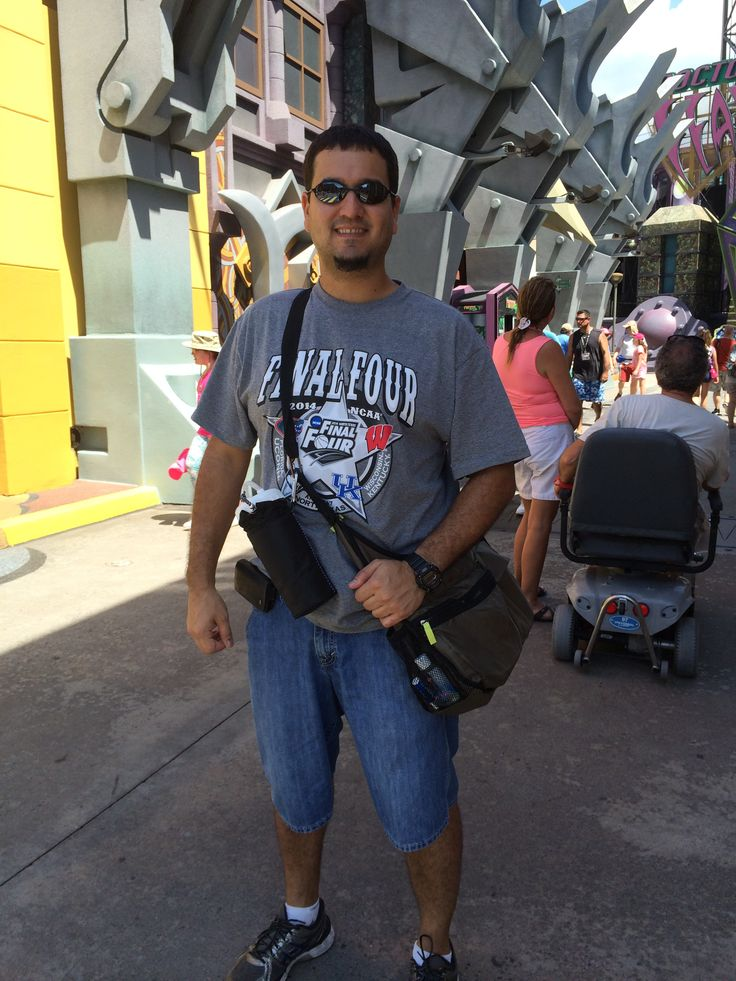 My hubby loves using our Explorista Crossbody bag and Bring a Bottle Thermal to explore Islands of Adventure along with all the other theme parks here in central Florida!