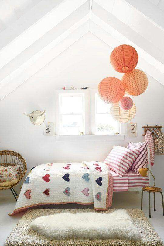Gorgeous loft style children's bedroom. So simply accessorised with the paper lanterns.