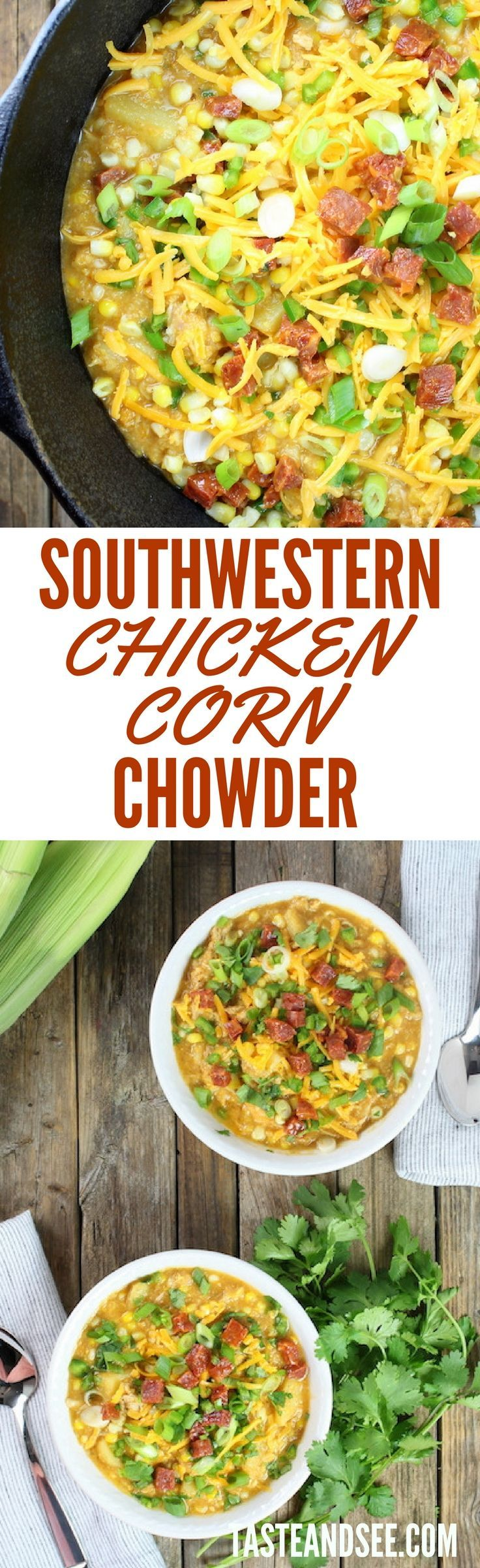 Southwestern Chicken Corn Chowder = sweet, hearty, flavorful meal all in 1 big bright sunny pot! Low fat & full of tons of veggies like onions, garlic, potatoes, squash and jalapenos. Super flavorful with zesty spices like cumin and chipotle chili pepper… topped with chorizo! #chowder http://tasteandsee.com