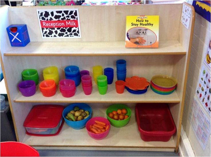 Snack area is easily accessible, children can help themselves & wash up. Snack for the week is visible, so no worries